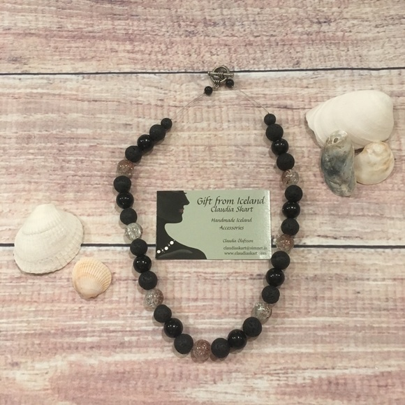 Handmade Icelandic lava rock and crystal necklace